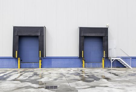 building feature: New loading dock, trucking industry detailed background with industrial detail Stock Photo