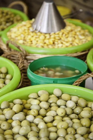 Green olives, detail of olives in a market in the city, food