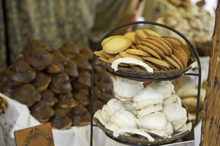assumption: Sweets on a pastry, detail of a bakery desserts to sell Stock Photo