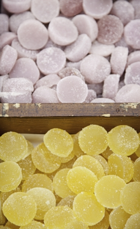 Sugared jellies, sweet candy detail in a store, candy artisans photo