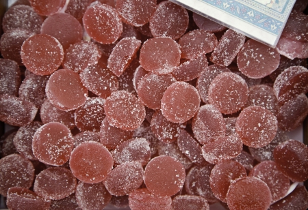 Strawberry jellies, caramels artisans detail in a market, fresh food photo