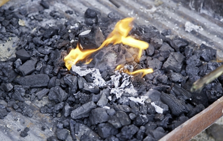 ancient tradition: Brasas de carb�n con el fuego, detalle de una parrilla para asar carne, una antigua tradici�n, la comida Foto de archivo