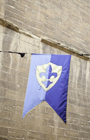 Old medieval banner, detail of an ancient medieval flag photo