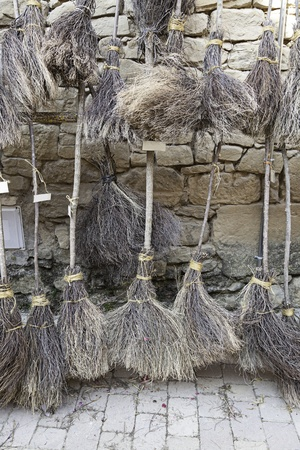 requisite: Halloween witch broom, detail of a horror decoration, environment Stock Photo