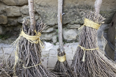 besom: Witch brooms Detail, detail of a broom halloween, party of fear Stock Photo