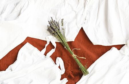 Lavender and linens, antique linens detail with ground aromatic, aroma and cleaning photo