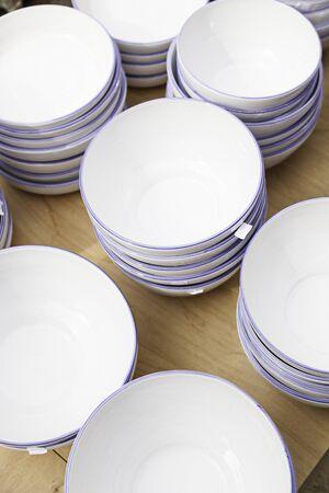 clay craft: White dishes craft, handicraft detail Spanish, clay, craft