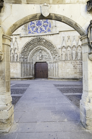 Arches in a former church, detail of an old Gothic building, historical building, monument and tourist photo