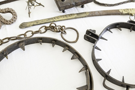 inquisition: Instruments of torture from the Inquisition, detail of objects to torture, pain and physical damage Stock Photo