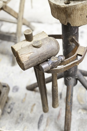 Old wooden hammers, detail of some ancient crafts hammers photo