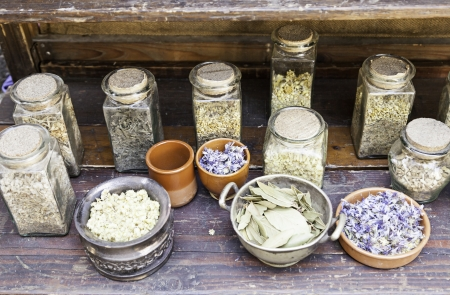 Ancient medicinal herbs, traditional medicine detail of ancient health and wellness Stock Photo - 21560127