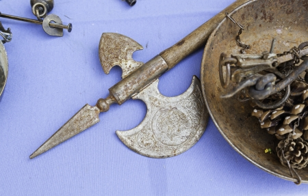 Ancient medieval weapons, detail of a weapons of war and destruction, antiquity and history photo