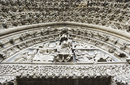 Old porch in an old Romanesque church in Spain, religious decoration in stone