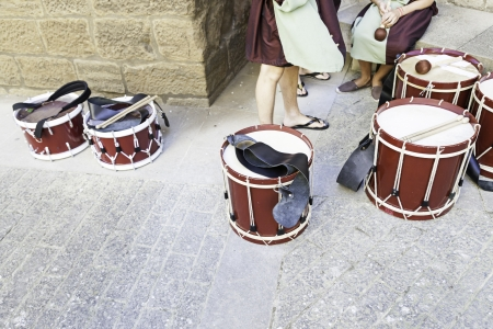 Drums music band, detail of a percussion instrument, music on the street, street art photo