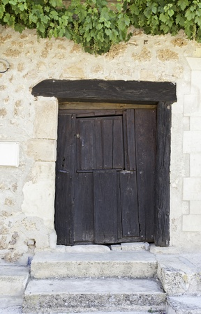 rural town: Detail of an ancient medieval door in an old rural town of Spain, decoration and protection