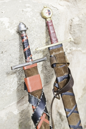 Ancient medieval swords, edged weapons detail to kill, a tool of war and destruction, death photo