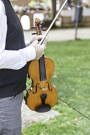 stringed instrument: Violinist playing, detail of a musician playing a stringed instrument
