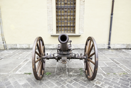 Old ground war cannon, detail of an old gun, death and destruction war