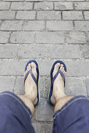 Resting feet, detail of a person resting after walking, relax photo
