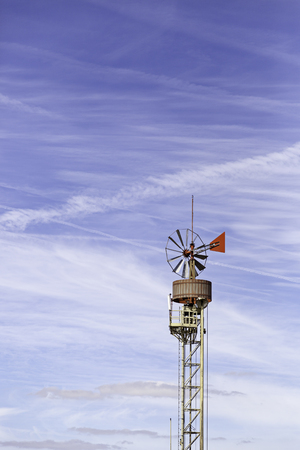 Former mill vane, detail of an old metal windmill, wind power Stock Photo