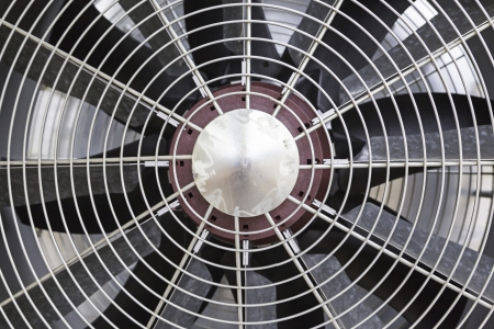 Metal fan, detail of some blades of a fan to provide air refrijeracion