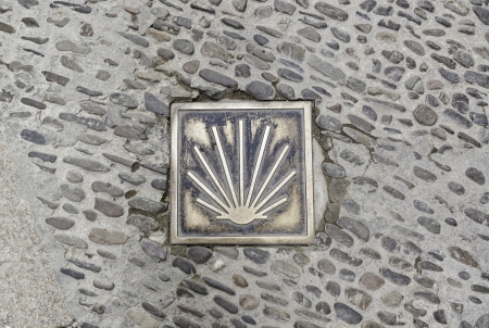 xacobeo: Bookmark conche road santiago on the floor, detail of a sign for pilgrims Stock Photo