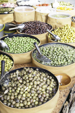 Olives in a Market, detail of a typical Spanish food product, health food, diet Stock Photo - 24604063