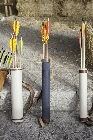Arrows for archery, a detail of weapons to shoot a bow, injury and pain Stock Photo