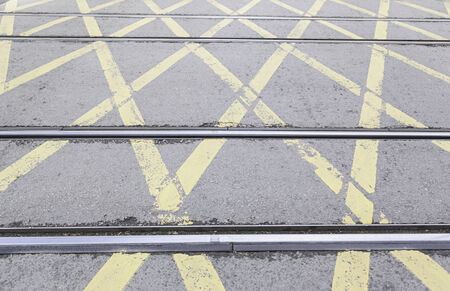 publishes: Roads tram traffic signals, detail of a roads for a Transport publishes modern city
