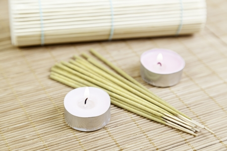 Candles and incense bamboo detail spa treatment, aromatherapy and relaxation Stock Photo