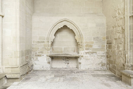 abandonment: Stone wall inside a church, detail of the interior of a monument in ruins, ruin and abandonment