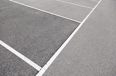 Parking lines on the asphalt, detail signals in parkin in the city Stock Photo