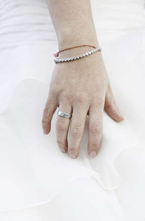 Hand of bride with wedding ring, detail of a woman on her wedding day, married alliance photo