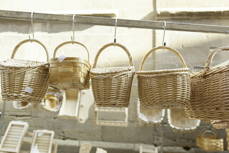 Wicker baskets handmade detail about recipientas to carry things, tradition and craftsmanship photo