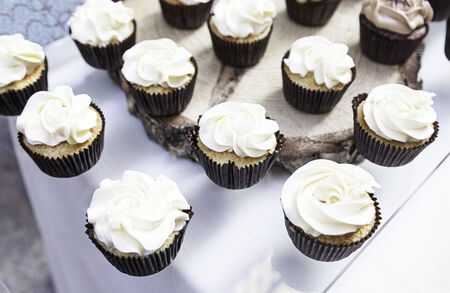 Sweet cupcakes decorated dessert detail flavors, colors and decoration, party and celebration photo