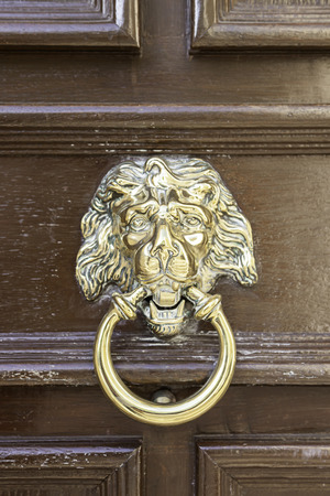 Caller shaped golden lion, detail of an ancient decorated door, ancient art photo
