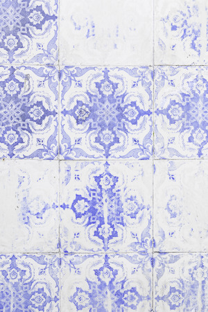 Typical old Lisbon tiles, detail of a classic ceramic tiles, art of Portugal