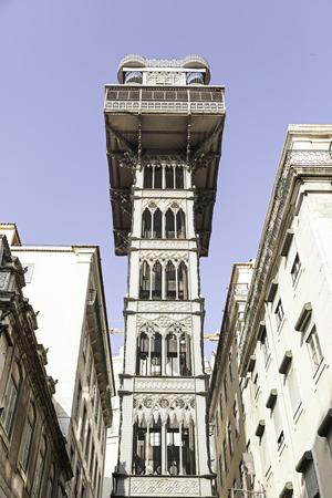 justa: Santa Justa elevator in Lisbon, detail of an old historic elevator, tourist monument, Portugal