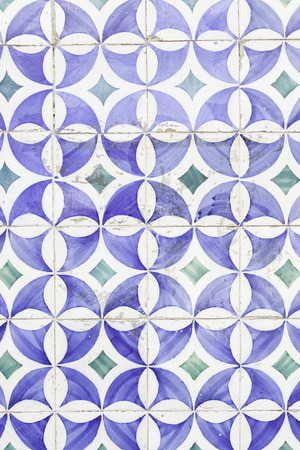 Wall tiles with typical old Lisbon, detail of traditional decoration of Portugal, ceramic art photo