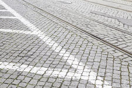 市、リスボン、古い都市の交通、観光、トランスポート経由で古いの詳細のトラムのビア 写真素材
