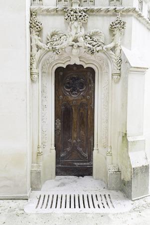 Old wooden door, detail of a decorated wooden door, art and monuments