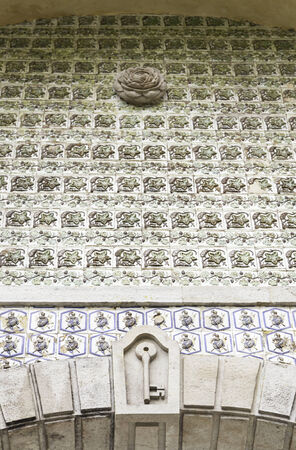 Wall tiles with typical old Lisbon, detail of traditional decoration of Portugal, ceramic art, Pena palace