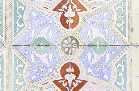Wall tiles with typical old Lisbon, detail of traditional decoration of Portugal, ceramic art Stock Photo
