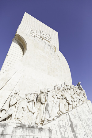 Discoverers Monument Lisbon, detail of a historical monument in Portugal Stock Photo