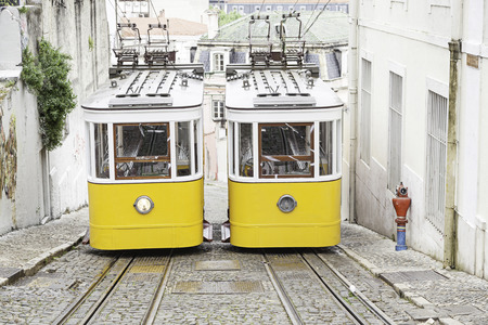 Old trams in Lisbon, detail of an old city transport, ancient art, tourism in the city Stock Photo