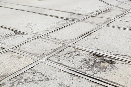 Tram tracks in the city, a detail of public transport in the\ city of Lisbon, former public transport