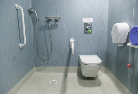 shower: Disabled Accessible bathroom Stock Photo