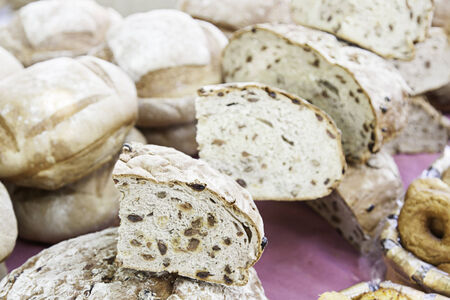 food staple: Artisan bread in a market, typical traditional food staple