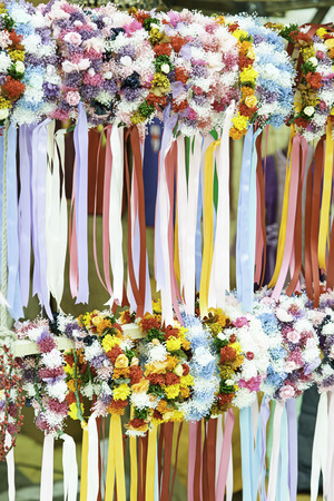 Crowns of flowers, detail of a classic medieval headband photo