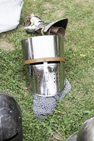 Old medieval helmets, detail of a protective metal skeletons, ancient object photo